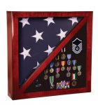 Rosewood Piano Finish Memorabillia and Flag Case Flag/Shadow Boxes