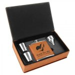 Leatherette Flask Set Rawhide Gift Items